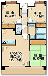 シャルマン 5階3LDKの間取り