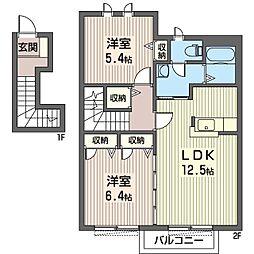 ペイサージュA[2階]の間取り