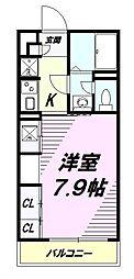 JR中央線 西八王子駅 徒歩10分の賃貸マンション 3階1Kの間取り