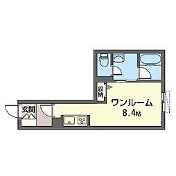 PHLOX(フロックス) 1階ワンルームの間取り