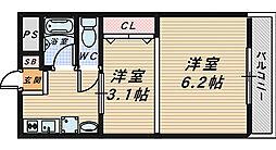 大阪府堺市堺区南田出井町2丁の賃貸マンションの間取り