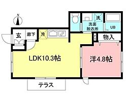 トレノーヴェ横浜 1階1LDKの間取り