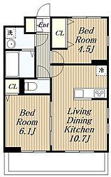 JR相模線 下溝駅 徒歩18分の賃貸アパート 1階2LDKの間取り