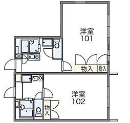千葉県鎌ケ谷市北初富の賃貸アパートの間取り