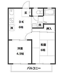 神奈川県川崎市幸区鹿島田1丁目の賃貸アパートの間取り