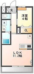 JR八高線 高麗川駅 徒歩9分の賃貸アパート 1階1LDKの間取り