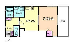 メイプルコート上渋谷A棟 1階1DKの間取り