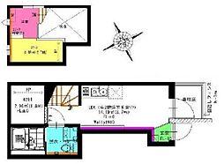 東急東横線 元住吉駅 徒歩5分の賃貸アパート 1階ワンルームの間取り
