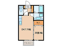 栃木県小山市駅東通り1丁目の賃貸アパートの間取り