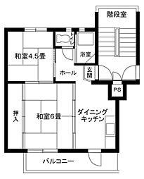 南平台共同住宅1号棟[308号室]の間取り