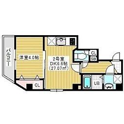 JR外房線 蘇我駅 徒歩5分の賃貸マンション 3階1DKの間取り