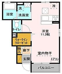 JR高崎線 北鴻巣駅 徒歩5分の賃貸アパート 1階ワンルームの間取り