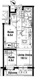 JR山手線 目黒駅 徒歩6分の賃貸マンション 3階2LDKの間取り