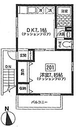 神奈川県横浜市青葉区榎が丘の賃貸アパートの間取り