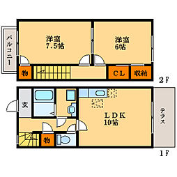 [テラスハウス] 滋賀県長浜市祇園町 の賃貸【/】の間取り