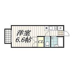 千葉県千葉市中央区新田町の賃貸アパートの間取り