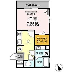 名鉄名古屋本線 東岡崎駅 徒歩5分の賃貸アパート 2階1Kの間取り