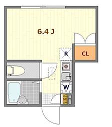 バーミープレイス東小金井II 1階ワンルームの間取り