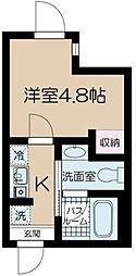 都営大江戸線 中野坂上駅 徒歩5分の賃貸マンション 2階1Kの間取り