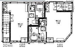 グランドソレイユ白金高輪 1階ワンルームの間取り