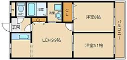 南海高野線 北野田駅 徒歩8分の賃貸マンション 2階2LDKの間取り