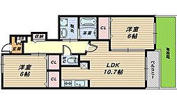 大阪府堺市南区三木閉の賃貸アパートの間取り