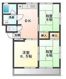 愛知県豊川市佐奈川町の賃貸アパートの間取り