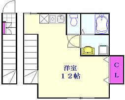 つくばエクスプレス 三郷中央駅 徒歩5分の賃貸アパート 2階ワンルームの間取り