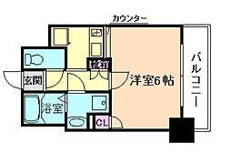 JR東西線 海老江駅 徒歩10分の賃貸マンション 4階1Kの間取り