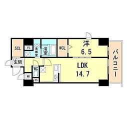 新芦屋ビル 7階1LDKの間取り