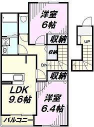 キーペットアメニティ I 2階2DKの間取り