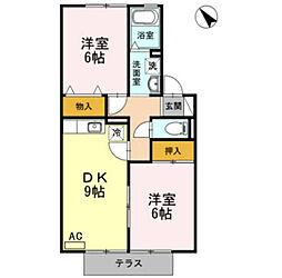 セジュール西岡崎B[2階]の間取り