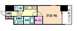 エスプレイス新大阪サウスゲート 11階1Kの間取り