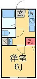 京成千原線 大森台駅 徒歩2分の賃貸アパート 2階1Kの間取り