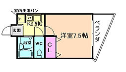 コスモタワー 9階1Kの間取り