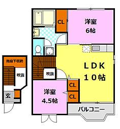 茨城県筑西市みどり町2丁目の賃貸アパートの間取り
