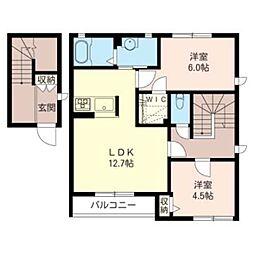 カーサ・グラシアス E 2階2LDKの間取り