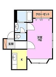 JR白新線 西新発田駅 徒歩27分の賃貸アパート 1階1Kの間取り