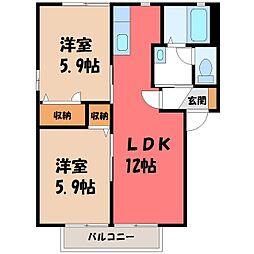 栃木県栃木市城内町1丁目の賃貸アパートの間取り