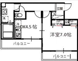 メルディア中野島 3階1DKの間取り