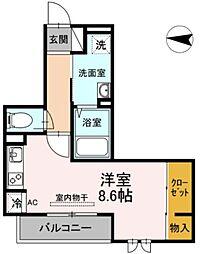 JR横須賀線 新川崎駅 徒歩16分の賃貸アパート 1階ワンルームの間取り