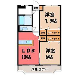 栃木県小山市大字喜沢の賃貸マンションの間取り