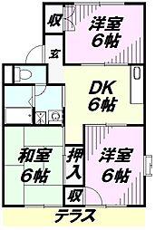 埼玉県所沢市岩岡町の賃貸アパートの間取り