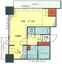 文京ガーデン ザ サウス 10階1Kの間取り