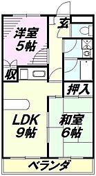 埼玉県所沢市大字上安松の賃貸アパートの間取り