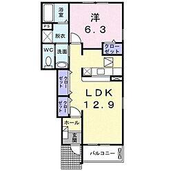 大阪府堺市美原区青南台2丁目の賃貸アパートの間取り