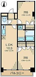 ジアース三鷹 2階2LDKの間取り