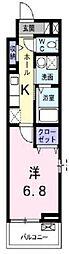 京王線 北野駅 徒歩6分の賃貸アパート 3階1Kの間取り