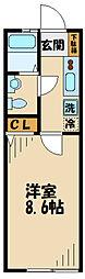 小田急小田原線 柿生駅 徒歩27分の賃貸アパート 1階1Kの間取り