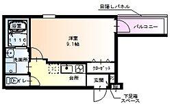近鉄南大阪線 北田辺駅 徒歩5分の賃貸アパート 1階1Kの間取り